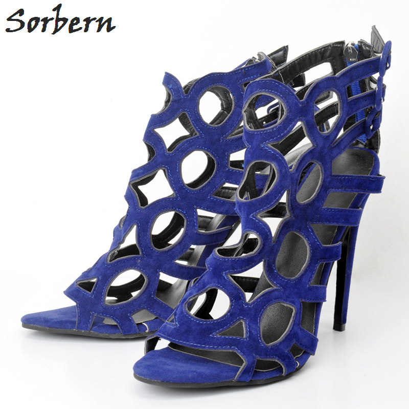 Sorbern Blue Women Sandals Ladies 2018 Summer Sandalias Mujer High Thin Heels Large Size Womens Sandals Hollow Size Party S denim zipper hollow worn stiletto womens sandals