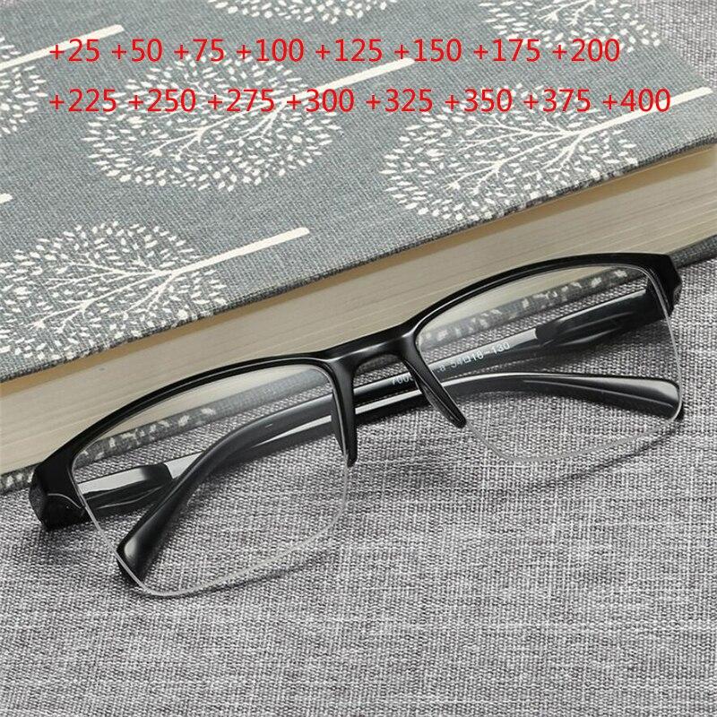 Очки для чтения с полуободковой оправой из полимера для мужчин и женщин, ультралегкие темные очки с защитой от усталости, с увеличением 0,5 + 0,...