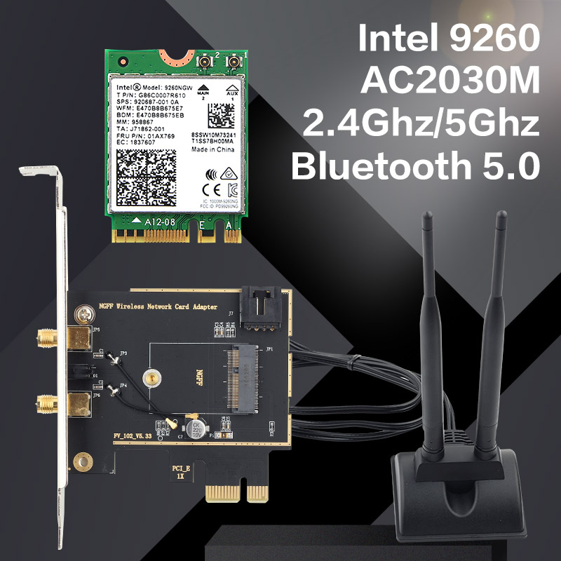 Dual band Desktop Wireless Intel 9260AC 9260NGW MU MIMO 802.11ac 1730Mbps Wifi Bluetooth 5.0 PCI E PCIe X1 Wlan Card + Antennas-in Network Cards from Computer & Office