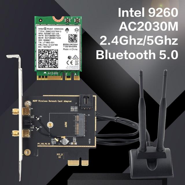 להקה כפולה שולחן עבודה אלחוטי Intel 9260AC 9260NGW MU MIMO 802.11ac 1730 Mbps Wifi Bluetooth 5.0 PCI E PCIe X1 Wlan כרטיס + אנטנות