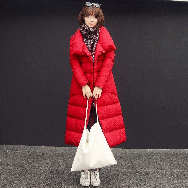 Plus Size Red Long Down Parka Coat Winter Jacket Womens