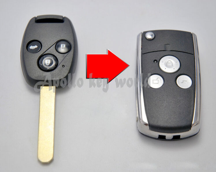 3 KNAPPER MODIFIERT FLIP REMOTE NØKKESKAL VESKER FOR HONDA FIT PILOT CRV ACCORD CIVIC REPLACEMENT FOLDING KEY COVER KEYLESS FOB