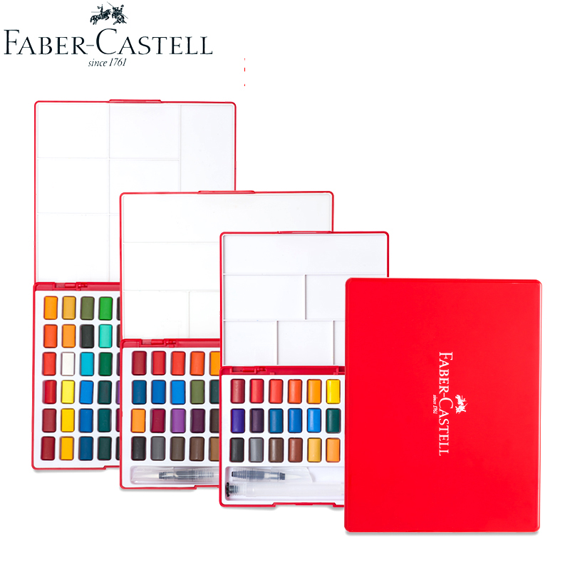 Faber Castell 24/36/48colors Solid Water Color Painting Set Box With Paintbrush Bright Color Portable Watercolor Pigment Set