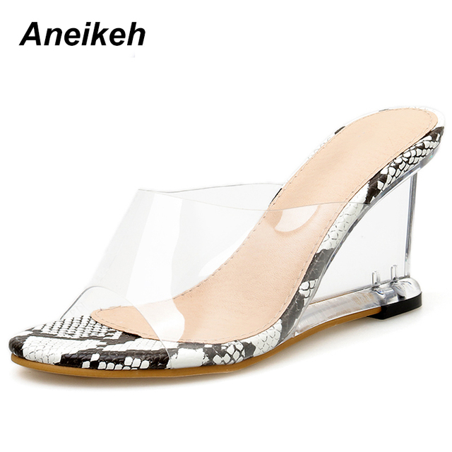 Aneikeh 2019 sandalias de cuña con plataforma de leopardo de PVC para mujer Sandalias de verano Sexy para mujer Zapatos de tacón Ultra altos transparentes