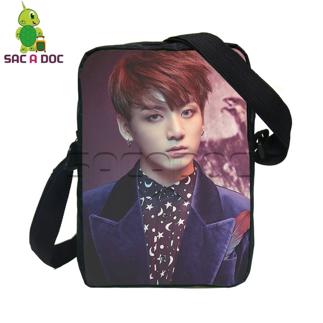 fca97b82cb8a Popular Kpop BTS Bangtan Boys Crossbody Bag Women Men Mini Messenger Bags  Idol V SUGA JIMIN Wings Travel Bag Children SchoolBags. 1 order