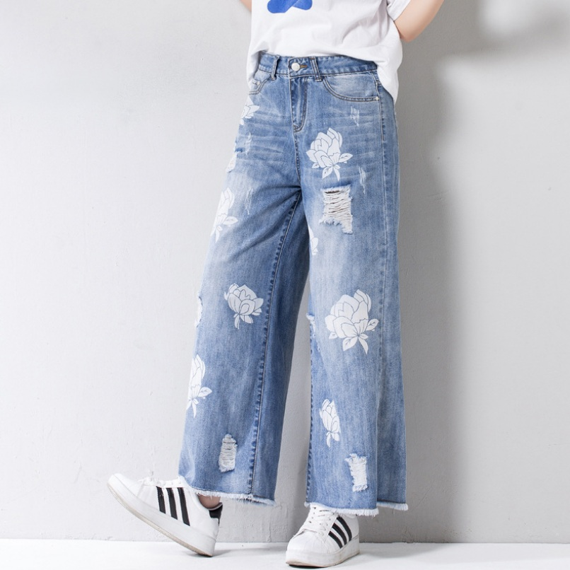 Wide Fashion Women Flower 26 Spring 2018 Trousers Blue Hole Jeans Denim Leg Print 32 Straight IxnIFqPwtU