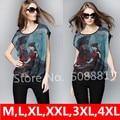 Plus Size camisetas mulheres m,L Xl, Xxl, 3xl, 4XL 2016 nova mulher verão encabeça manga Batwing cópia do Vintage Chiffon camisas Casual túnica