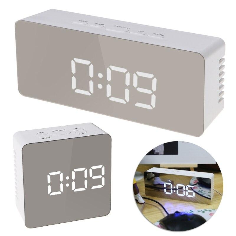 GOHAND Quadrat/Rechteck Digitale LED Spiegel Uhr 12 H/24 H Alarm Desktop Thermometer Uhren Weiß/Blau licht