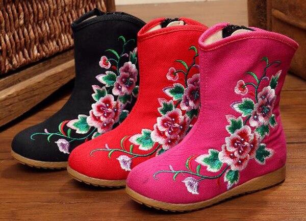 Meninas botas de dança sapatas da dança do vintage floral bordado tradicional Chinesa crianças planas sapatos chaussure nina bailar