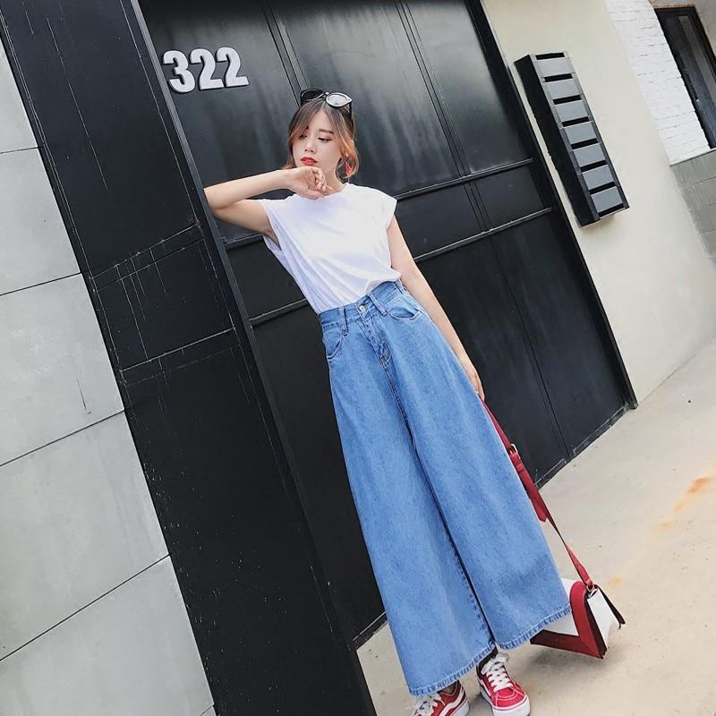 Ancho 2019 Denim Elástica Casual Cintura De Confort Para Pantalones Mujeres Primavera Verano Blue Vaqueros Retro Las La Pierna qBRwz1q
