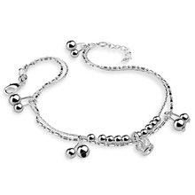 New design woman silver chains, fashion solid 925 silver bracelet, girl crown pendant silver chains, free shipping.
