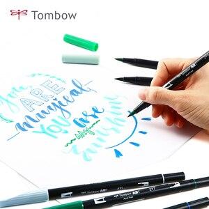 Image 2 - TOMBOW ABT çift fırça kalemler sanat Markers 10 renk seti çift kafa suluboya Marker kalem seti yazı, çizim, eskiz