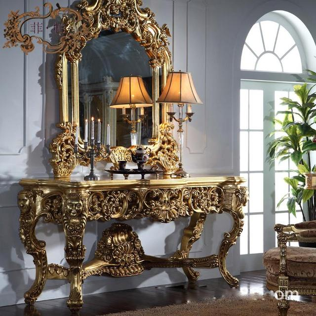Bon Italy Classic Luxury All Gilding Wood Carving Decorative Mirror Wood Carved Furniture  Console Tables
