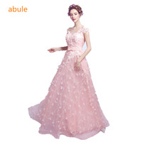abule 2017 lace Appliques sweetheart Long Evening Dress Sexy Lace-up Back Beading Party Formal Dresses Custom free shipping