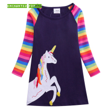 Baby girl dress unicorn rainbow long-sleeved spring and autumn new embroidered cute princess 1-6Y