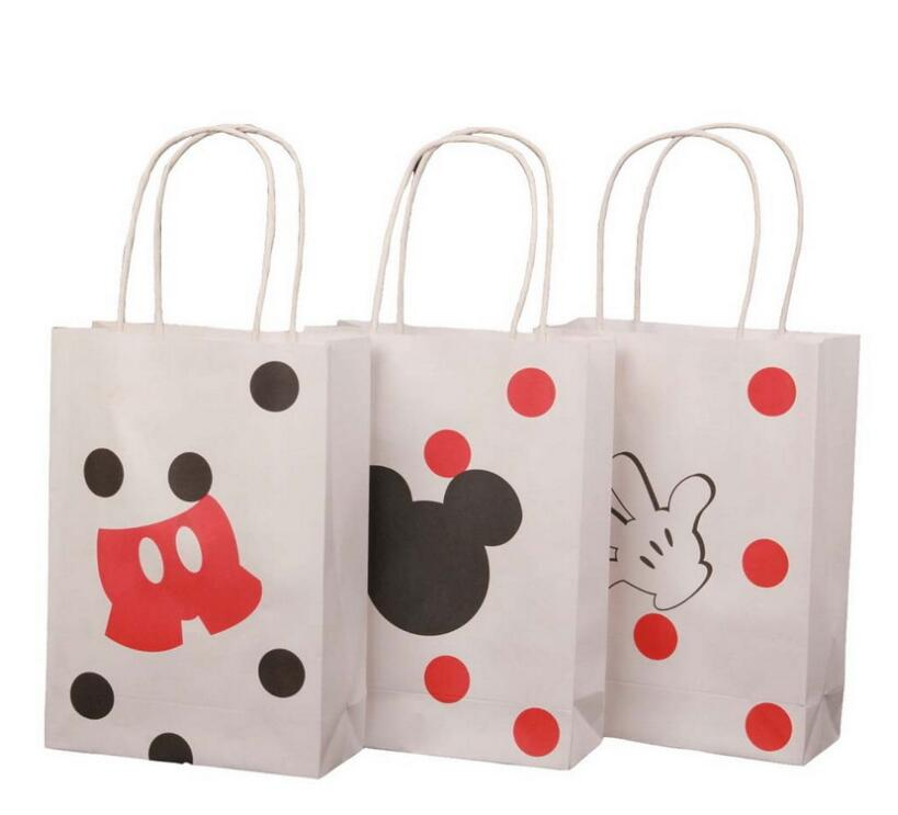 20pcs lot Cartoon White kraft paper bag with handle Wedding Party Favor Paper Gift Bags 21 15 6cm baby birthday party in Gift Bags Wrapping Supplies from Home Garden