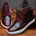 Autumn winter leather men oxford boots Bullock black brown grey vintage dress men shoes