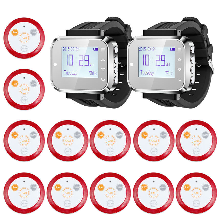 KERUI Fashionable & Hot Sale Black Waiter Service Calling alarm System Watch Pager button Service System (KR-C166+12 F64) wireless service call bell system popular in restaurant ce passed 433 92mhz full equipment watch pager 1 watch 7 call button