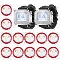 Kerui moda y venta caliente negro servicio de camarero sistema de llamada de alarma de reloj localizador botón sistema de servicio (kr-c166 + 12 f64)