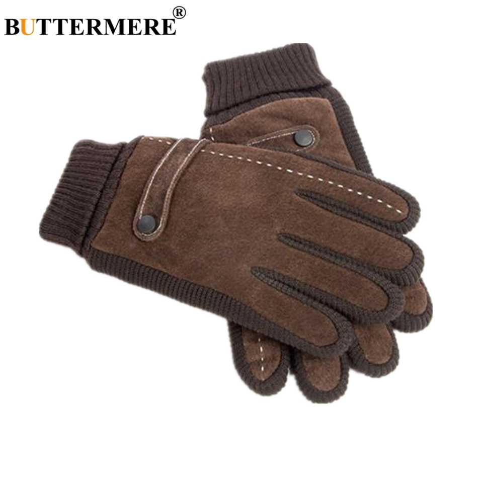 5747ee58214d5 BUTTERMERE Pigskin Gloves Men Gloves Winter Real Leather Black Brown Warm  Male Gloves Leather Motorcycle For