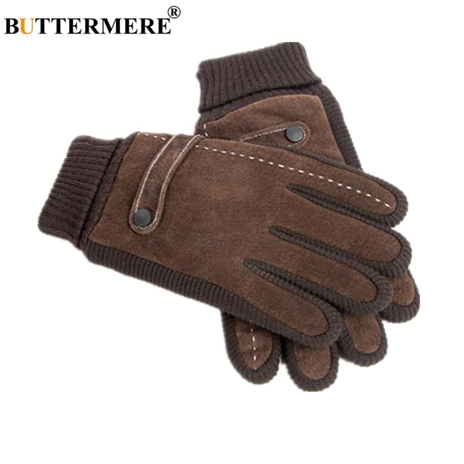 BUTTERMERE Pigskin Gloves Men Gloves Winter Real Leather Black Brown Warm Male Gloves Leather Motorcycle For Men
