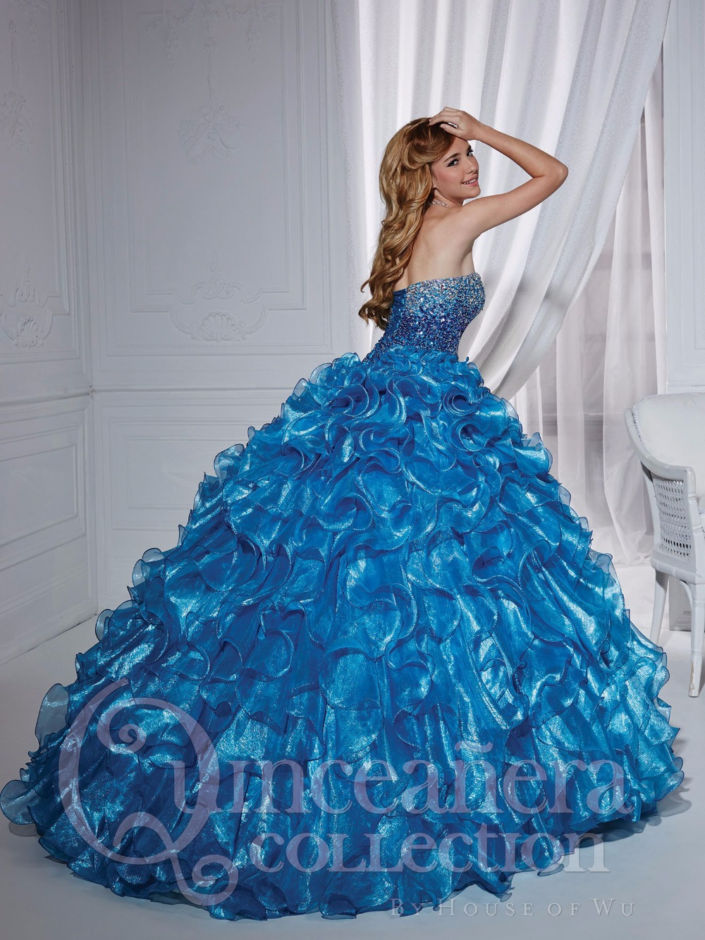 Glamorous Strapless Blue Quinceanera Dress 2017 New Style Shiny ...