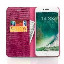 Funda de teléfono de cuero genuino QIALINO para iPhone 8 moderna ranura para tarjetas hechas a mano cubierta abatible de lujo para iPhone8 Plus 4,7 /5,5 pulgadas