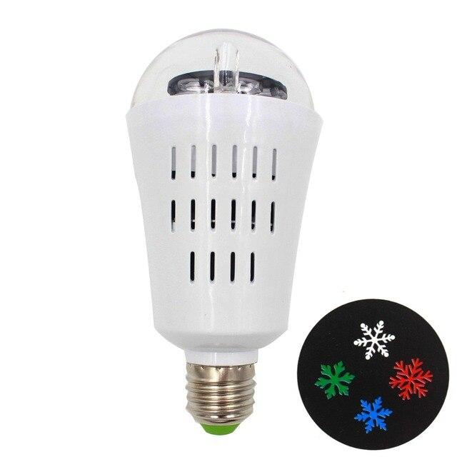 New Auto Rotating Projector AC90-240V 4W E27 LED Bulb Lamp Snowflake Pattern Party Light DJ KTV Pub Bar Xmas Stage Lighting Bulb