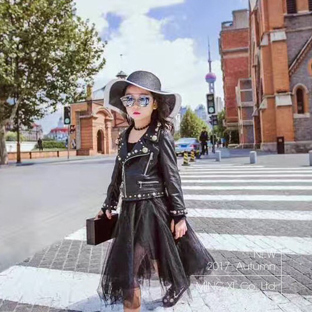 22ba9b230 Children s girls PU motorcycle leather jacket 2019 spring and autumn ...
