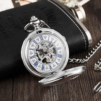 Silver Magnifying Transparent Mechanical Pocket Watch Fob Chains Skeleton Steampunk Hand Winding Mechanical Watch for Men Gifts