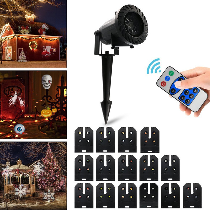 Halloween Christmas Holiday Decoration Projector Light Outdoor LED Stage Lamp With 15 Replaceable Patterns Laser Projector Light