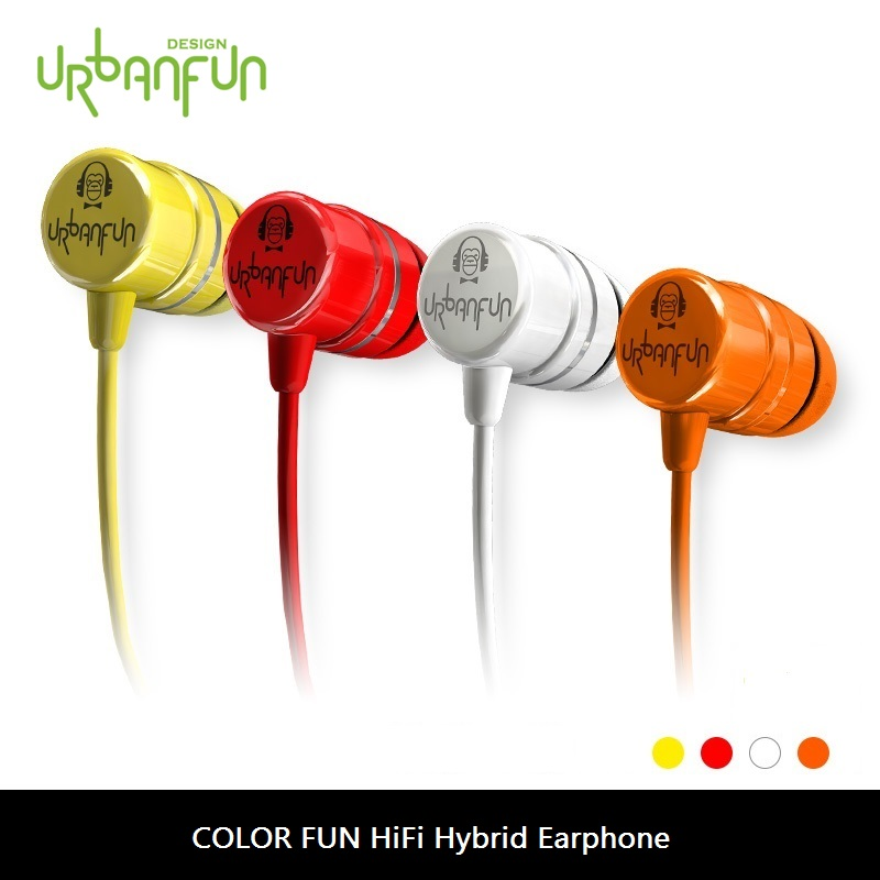 URBANFUN Flagship Version COLOR FUN 3.5mm HiFi Hybrid In-ear Earphones With Mic CHY-1 original urbanfun earphone 3 5mm in ear earbuds hybrid drive earphones with microphone hifi auriculares with monitor earplug
