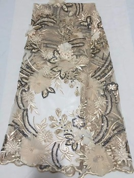 fashion embroidery tulle fabric New design african net lace fabric for wedding dress CDN65