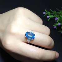 Qi Xuan_Fashion Jewelry_Blue Stone Simple Elegant Woman Rings_S925 Solid Sliver Fashion Rings_Manufacturer Directly Sales