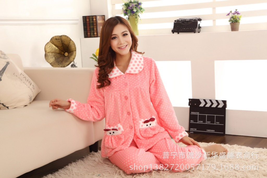 47846f93f3 2017 autumn and winter pajamas women coral cashmere cardigan large yards  home clothing suit thickening warm flannel pajamas-in Pajama Sets from  Underwear ...