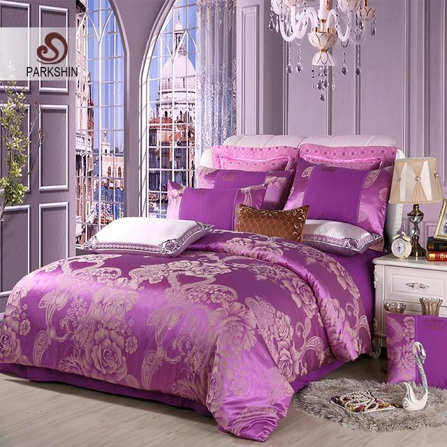 ParkShin Jacquard Luxury Sheet Pillowcases Duvet Cover Sets 4PCS Bed Linen Euro Cotton Bedding Set Adult Double Queen King Size