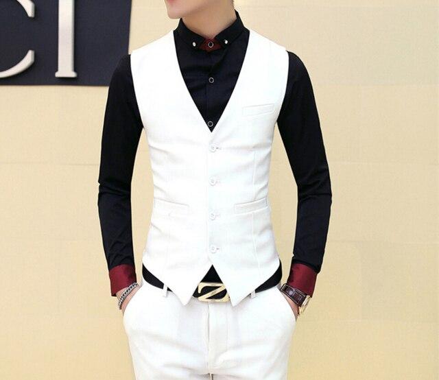 new men s white vest British fashion trend married vest Solid color dress  casual men s suit vest 9040d00a3571