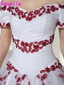Image 4 - Wit en Donker Rode Twee Tonen Baljurk Trouwjurken Prinses Uit De Schouder Non Traditionele Vintage Kleurrijke Bruidsjurken