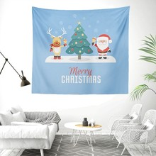 Christmas Wall Tapestry Elk Santa Claus Trees Hippie Tapestry Wall Hanging Fabric Boho Table Cloth Dorm Blanket Blue Decor Tapiz