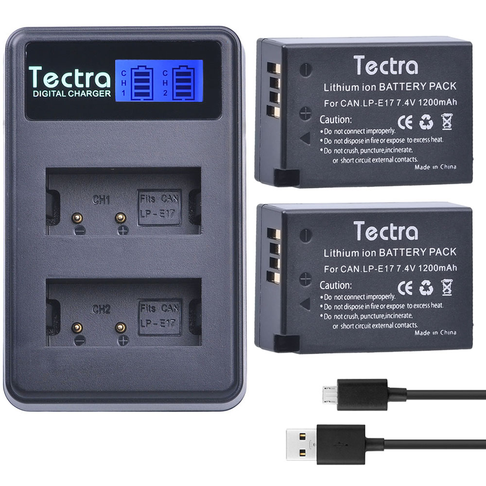 Tectra 2 шт. <font><b>lp</b></font>&#8212;<font><b>e17</b></font> <font><b>LP</b></font> <font><b>E17</b></font> lpe17 Bateria + ЖК-дисплей USB двойной Зарядное устройство для Canon EOS 200d 750d 760d 8000d m3 M5 Rebel t6i T6s поцелуй X8i
