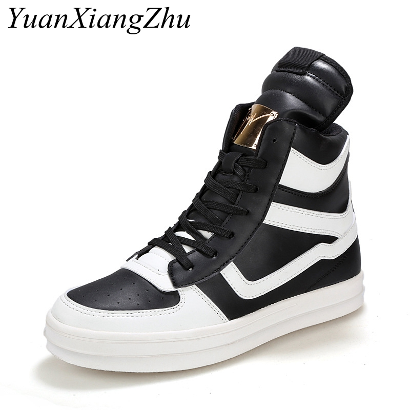 Men Casual Shoes 2018 Fashion Brand Hip-Hop Sneakers High Top Mens Casual Shoes High Quality Lace-Up Large Size Men Shoes 39-45 adboov fashion camo sneakers men hip hop shark low top skateboarding shoes lace up street leather casual shoes flats