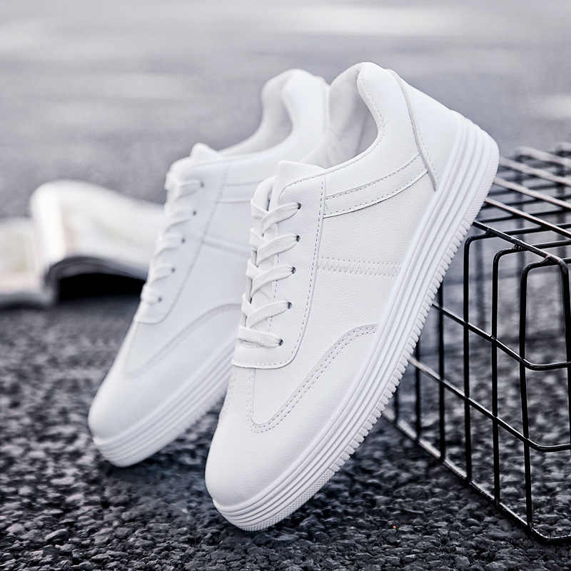QWEDF  Men Shoes Spring Autumn Casual Leather Flat Shoes Lace-up Low Top White Male Sneakers tenis masculino adulto Shoes  SD-64