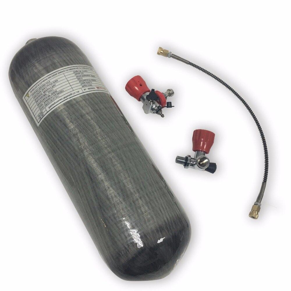 Acecare 9L 4500psi fiber de carbone cylindre plongée sous-marine réservoir paintball pcp réservoir avec valve et station de remplissage pour la chasse en plein air