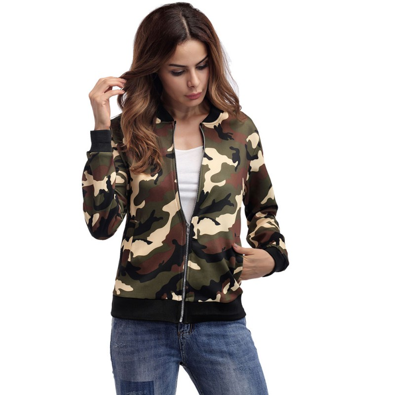 Slim   Basic     Jacket   Coat Women Long Sleeve Camouflage Military   Jackets   Outerwear Autumn Winter Casual Streetwear
