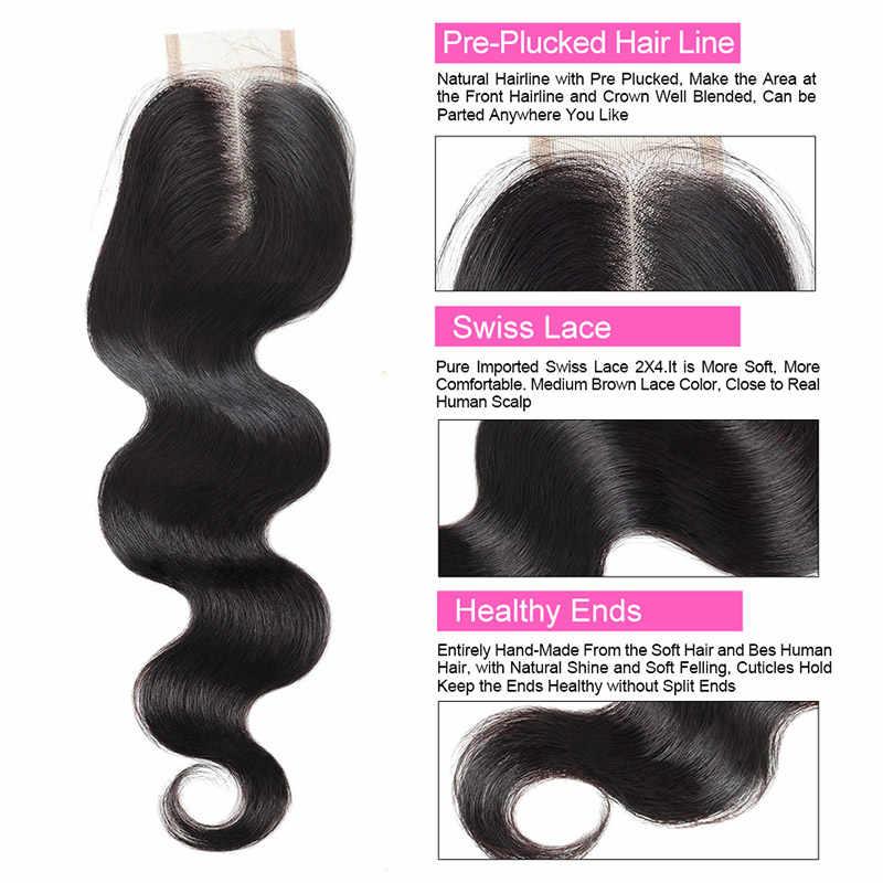 Cabello indio tejido con cierre onda del cuerpo con cierre de parte media 18 20 22 paquetes de cabello humano con cierre Meetu no Remy