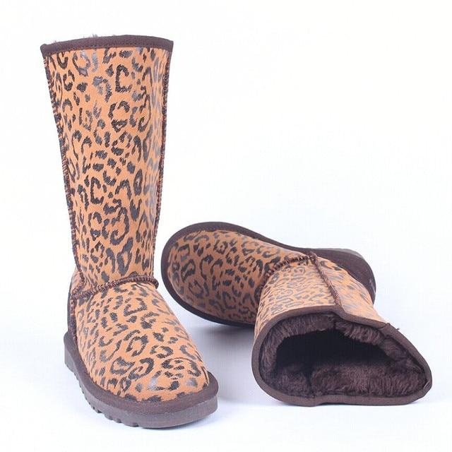 3.28 Anniversary Sale Price Leopard Print Women Snow Boots Real Cowhide Autumn Winter Shoes New Warm Cotton Shoes Plush Botas Fe