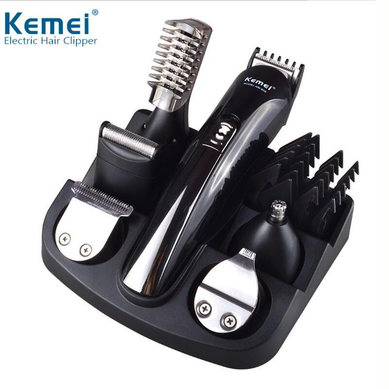 Professional Hair Trimmer 6 In 1 Hair Clipper Shaver Sets Mens rechargeable Electric Shaver Beard Trimmer Hair Cutting Machine kemei km 600 professional hair trimmer 6 in 1 hair clipper shaver sets electric shaver beard trimmer hair cutting machine