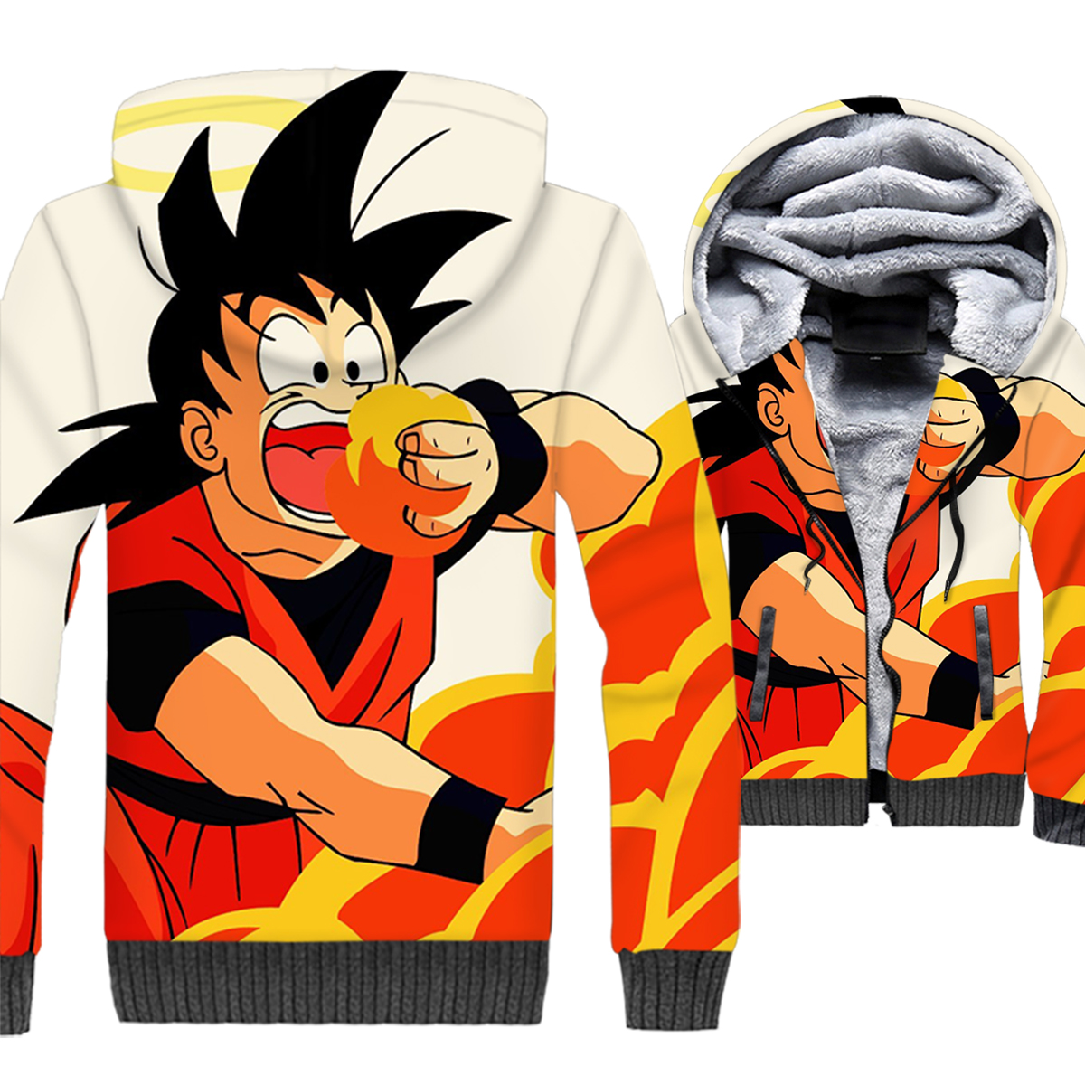 3D printed swag coats Dragon Ball super Saiyan wool liner jackets hooded funny brand clothes 2018 men thicken zipper sweatshirts