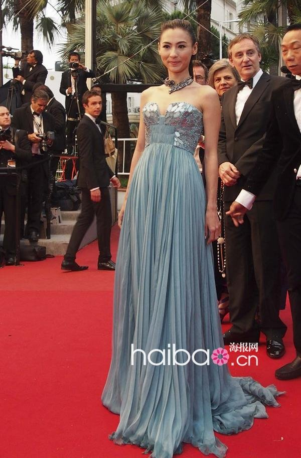 Zhang Bozhis Strapless Blue Sexy Dress Of Cannes Film Festival In Evening Dresses From Weddings