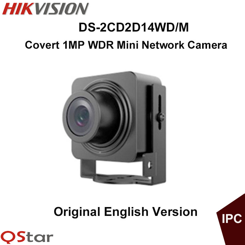 Hikvision Original English Mini IP Camera DS-2CD2D14WD/M ATM Camera Support Upgrade 1MP CMOS WDR HD720P Camera CCTV Camera hikvision new english version ds p1420 1 3mp ptz cctv ip camera 4 7mm 94mm 20x zoom support ezviz cloud ip66 onvif upgrade